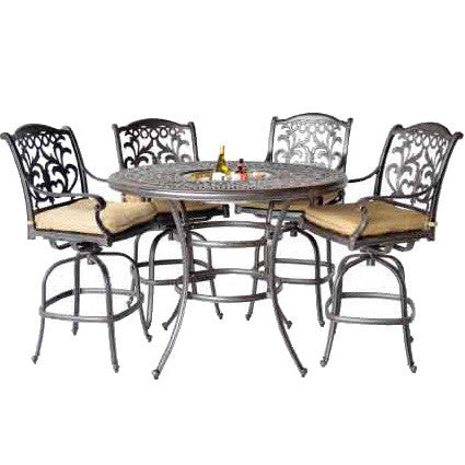 "Elizabeth 52"" Round Ice Bucket Bar Table with 4 Mandalay Bar Chairs (standard cushion) - The Backyard Bartender"
