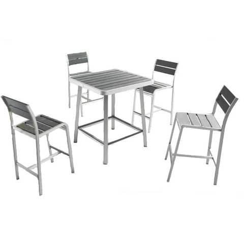 Megapolis 5 Piece Bar Table Set with Bar Stools - The Backyard Bartender