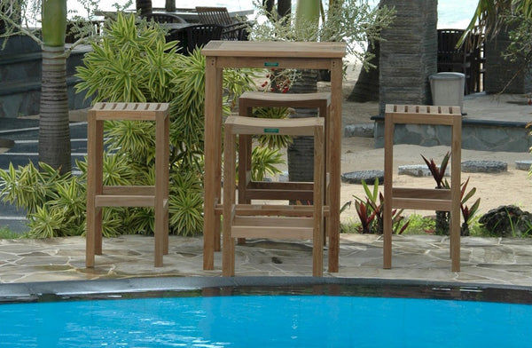 Anderson Teak Montego 5-Piece Outdoor Bar Table SET-113b - The Backyard Bartender