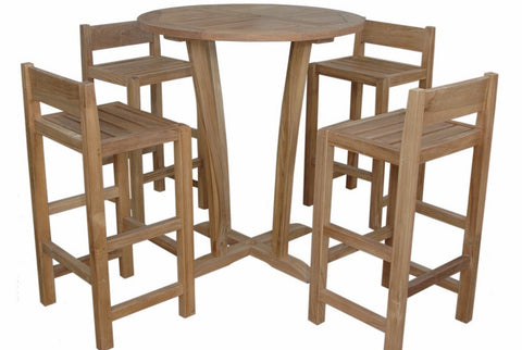 Anderson Teak Descanso Sedona 5-Piece Bar Table SET-290 - The Backyard Bartender