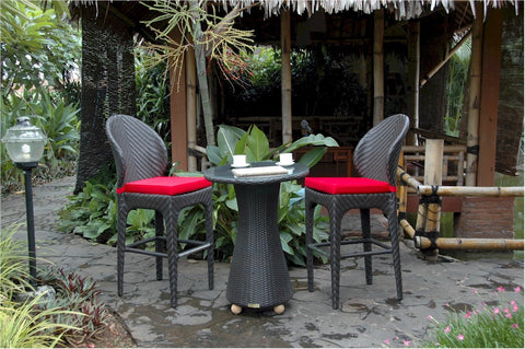 Anderson Teak Astoria 3-Piece Outdoor Wicker Bar Table Set SR-014 - The Backyard Bartender