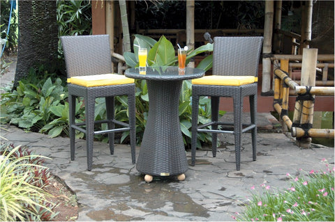 Anderson Teak Portofino 3-Piece Outdoor Wicker Bar Table Set SR-025 - The Backyard Bartender