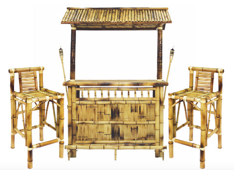 RAM Game Room Bamboo Tiki Bar 3-Piece Set TBAR60 - The Backyard Bartender