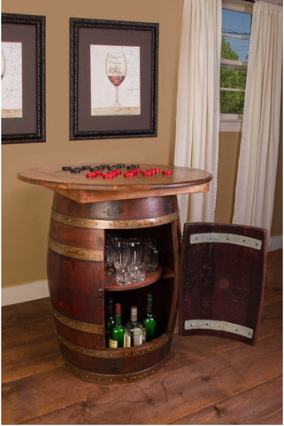 Napa East Whiskey Barrel Game Table 1087 - The Backyard Bartender