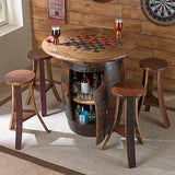 Napa East Whiskey Barrel Game Table with 4 Stools 1097 - The Backyard Bartender