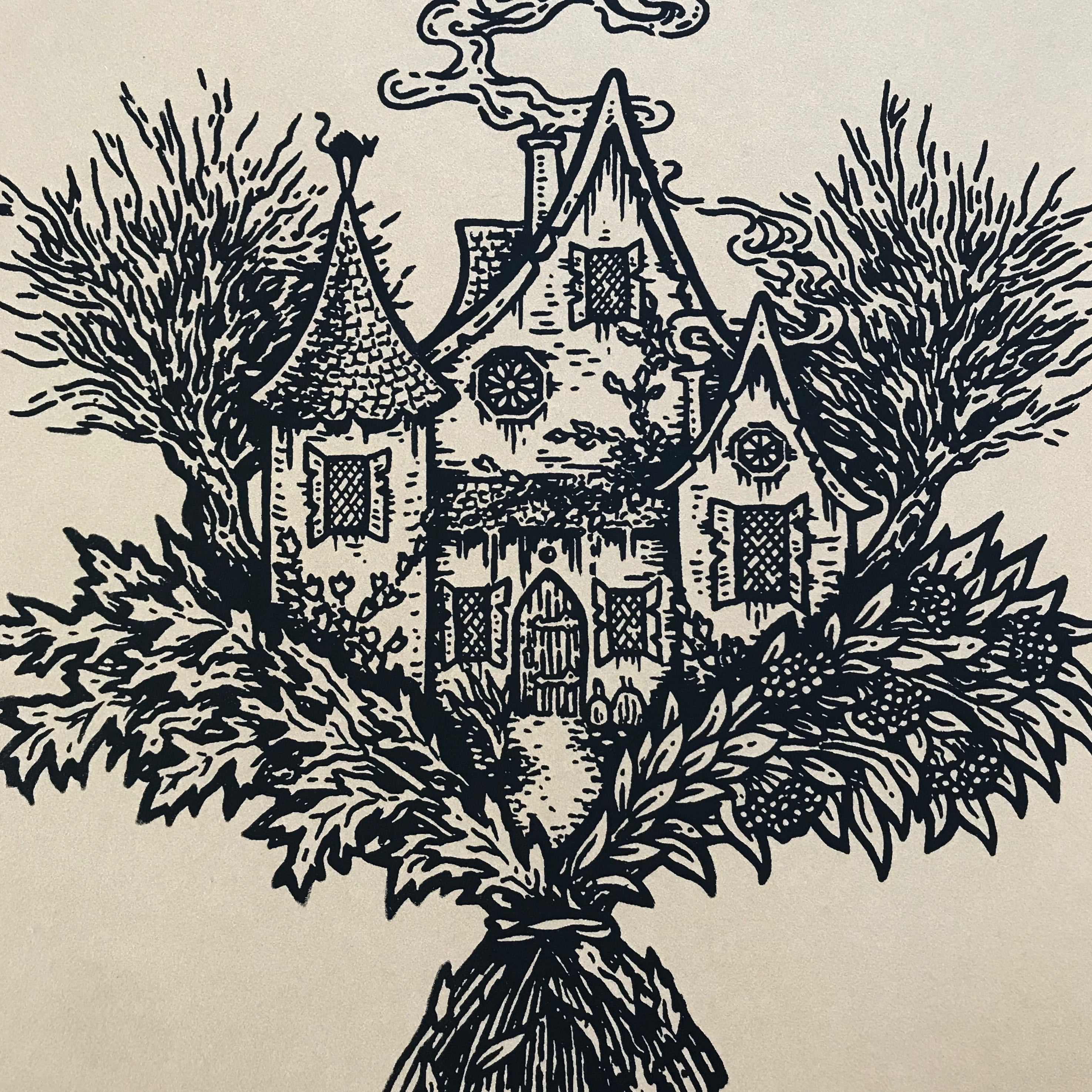 The Wise Woman's Cottage screen print