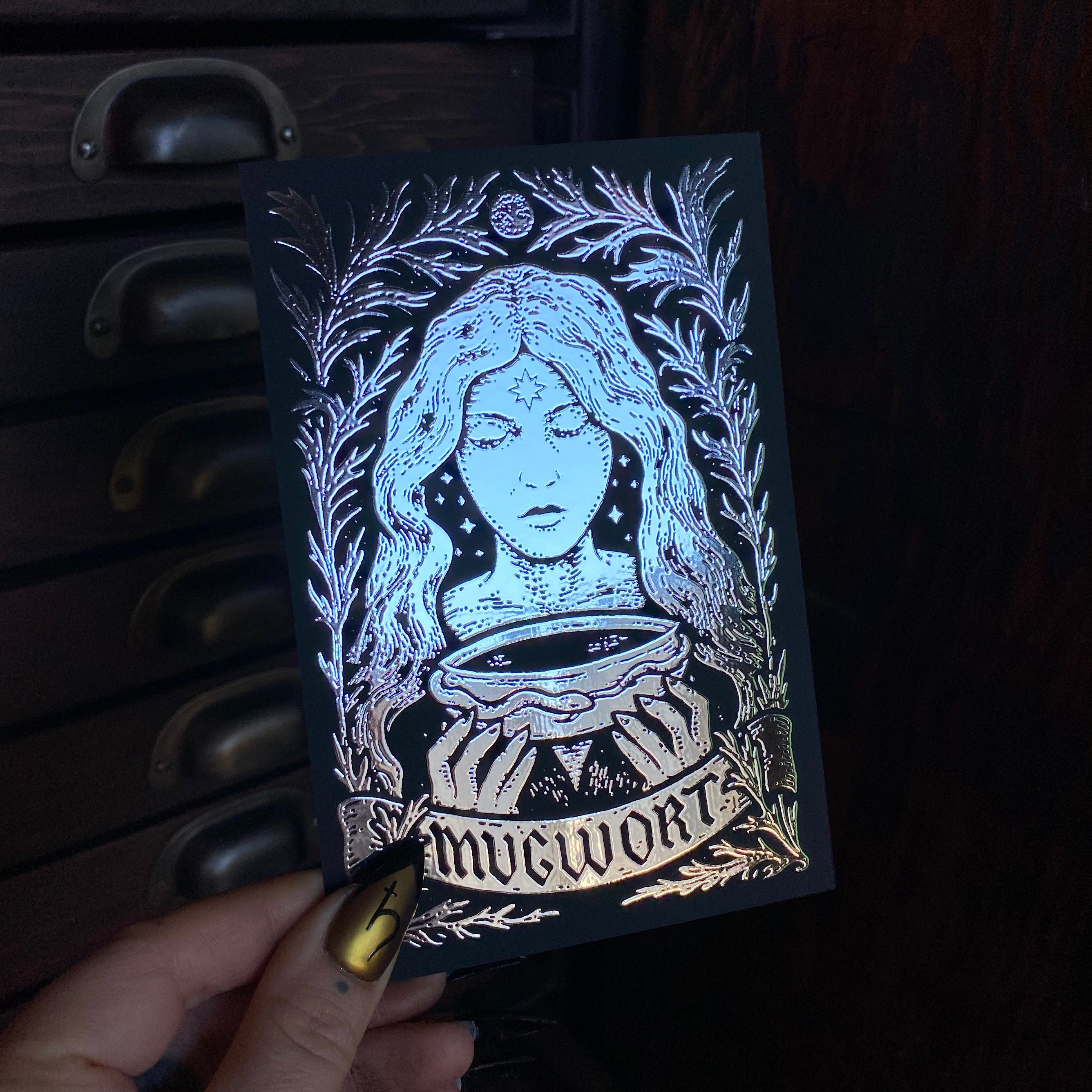 Mugwort metallic postcard