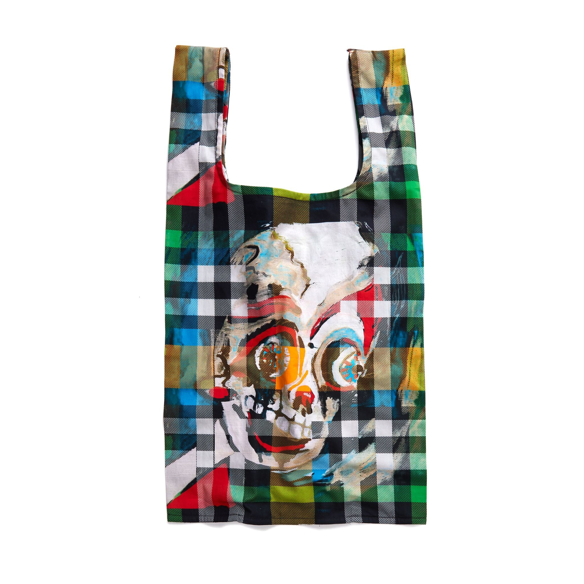 The Scooter Skeleton Boy Plaid Thank You Bag