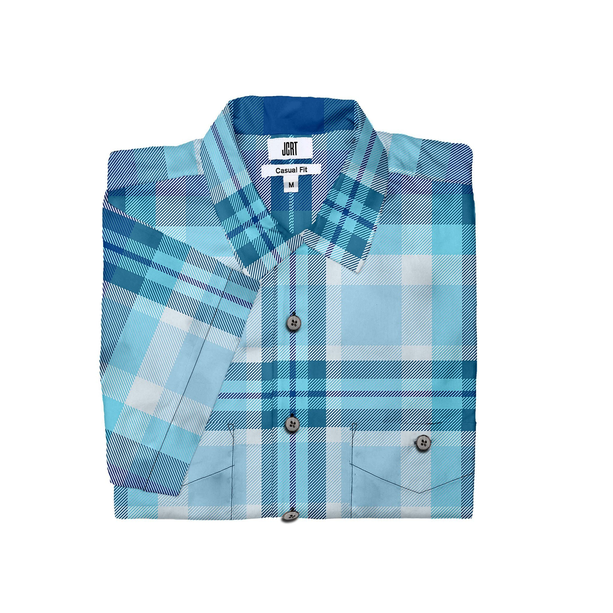The JCRT Stubbs & Wootton Blue Plaid Short Sleeve Shirt