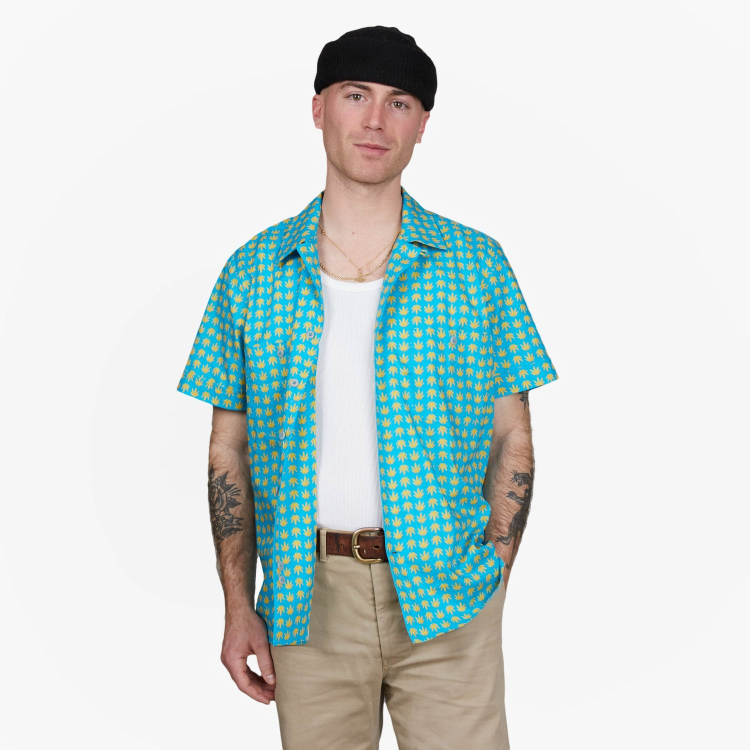 The Blue Cannabis Plaid Shirt