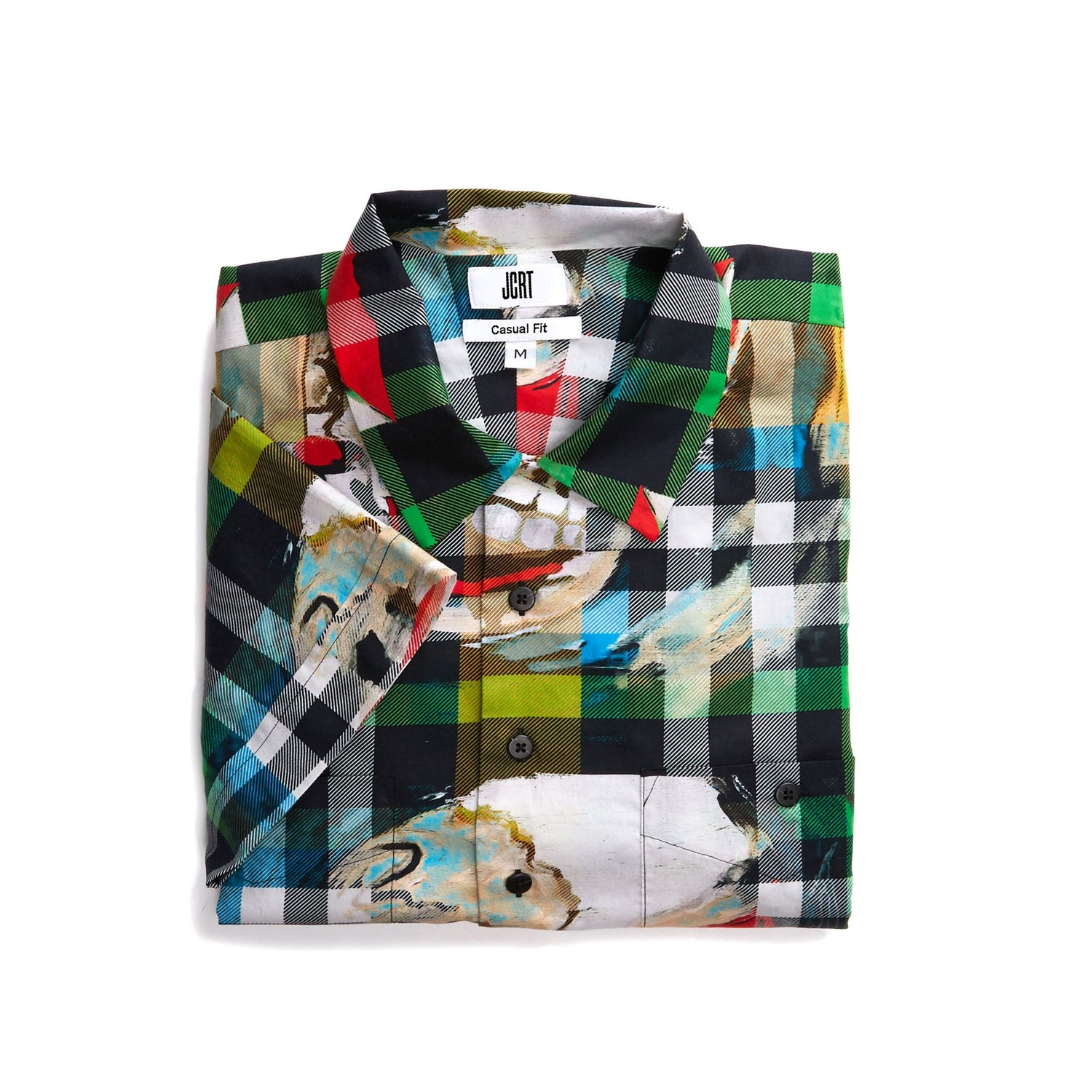 The Scooter Skeleton Boy Plaid Short Sleeve Shirt