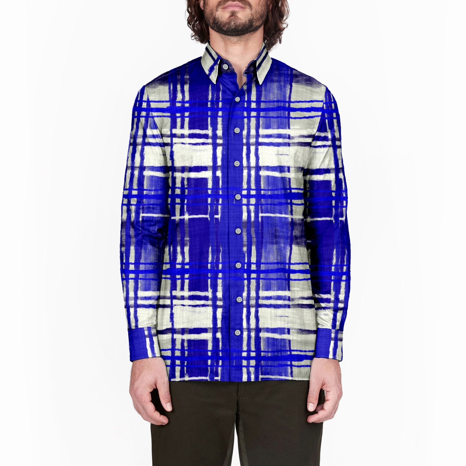 The Yves Klien Plaid Long Sleeve Shirt