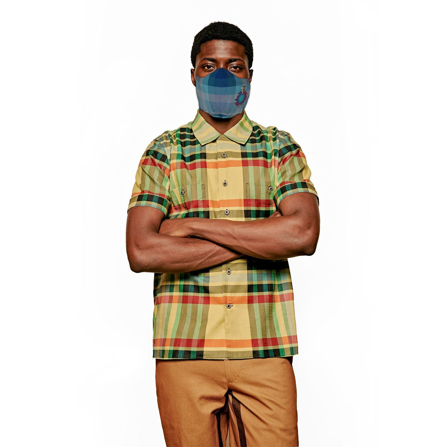 The JCRT + Stubbs & Wootton Summer Blue Plaid Screw COVID Face Mask.