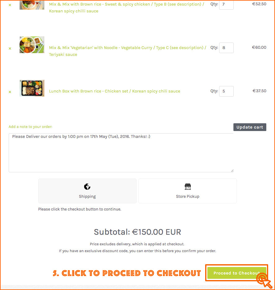 5. Click 'Proceed to Checkout'