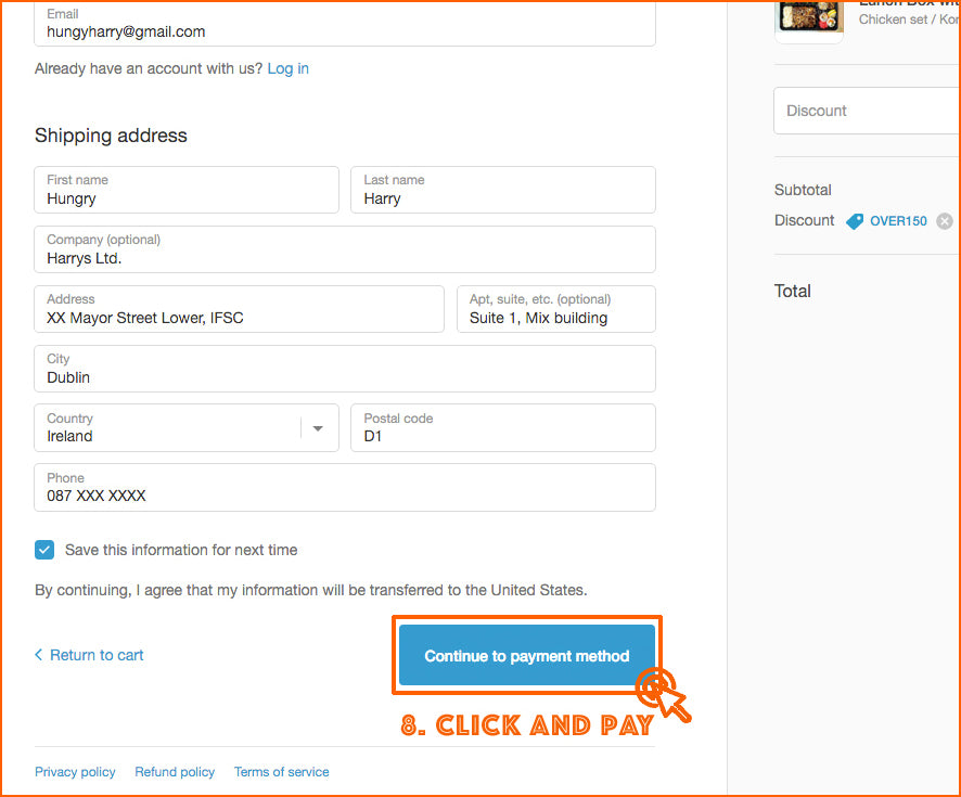 8. Click 'Continue to payment method' to pay and complete your order.