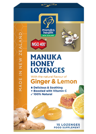 Manuka Honey with Ginger & Lemon Lozenges (15 lozenges 65g)