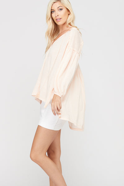 Blush Peasant Style Top