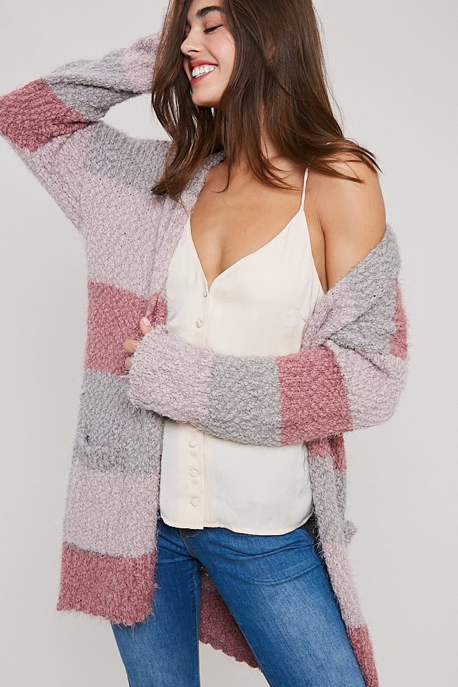 Mauve Colorblock Cardigan