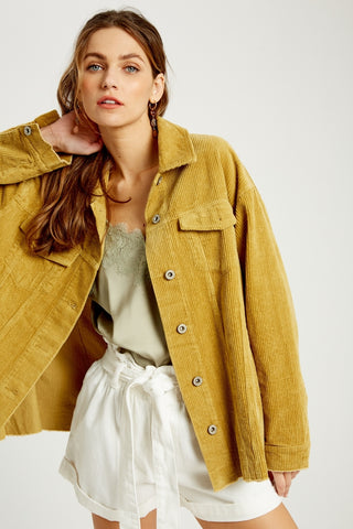 Corduroy Button Down Shirt in Mustard