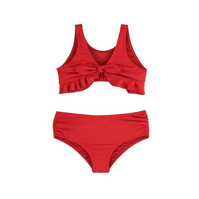 Red Poppy Back Tie Two-Piece Bathing Suit