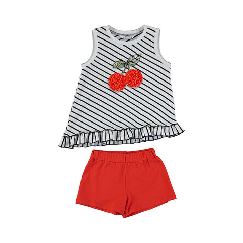 Striped Ruffle Embellished Cherry Top Set