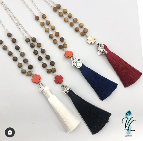 Long Tassel Team Necklaces