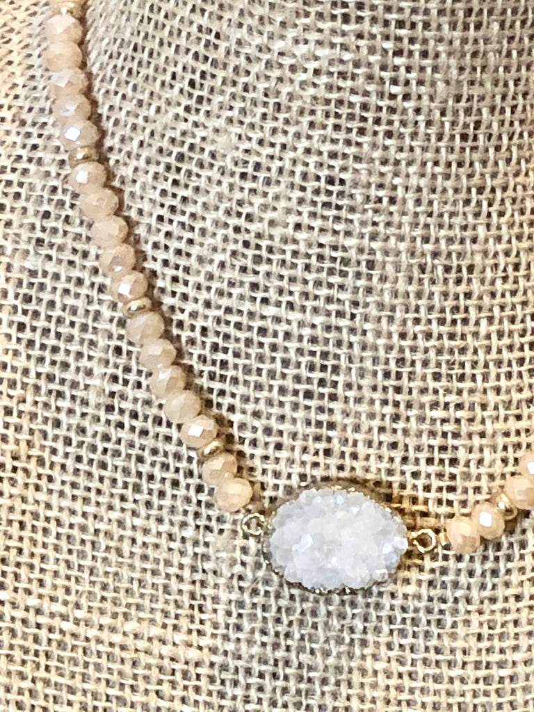 White and Peach Druzy Necklace