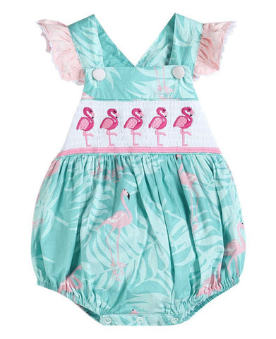 Turquoise Flamingo Smocked Bubble Ruffle Romper