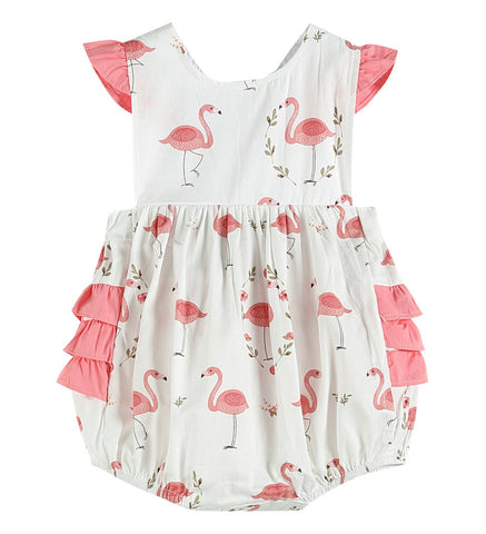 Pink & White Flamingo Ruffle Bubble Romper