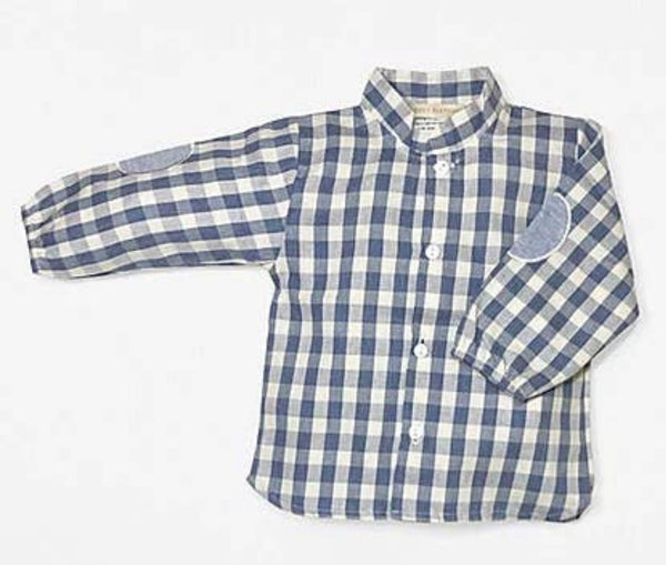 Boys Blue and Beige Plaid Top