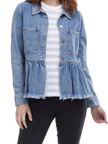 Distressed Ruffle Jean Jacket