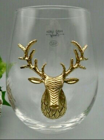 North Pole South Gold Stag Wine Glasses