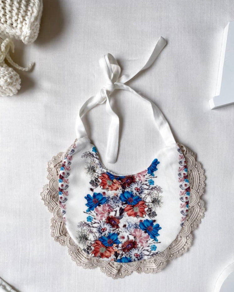 Blue Boho Flower Bib