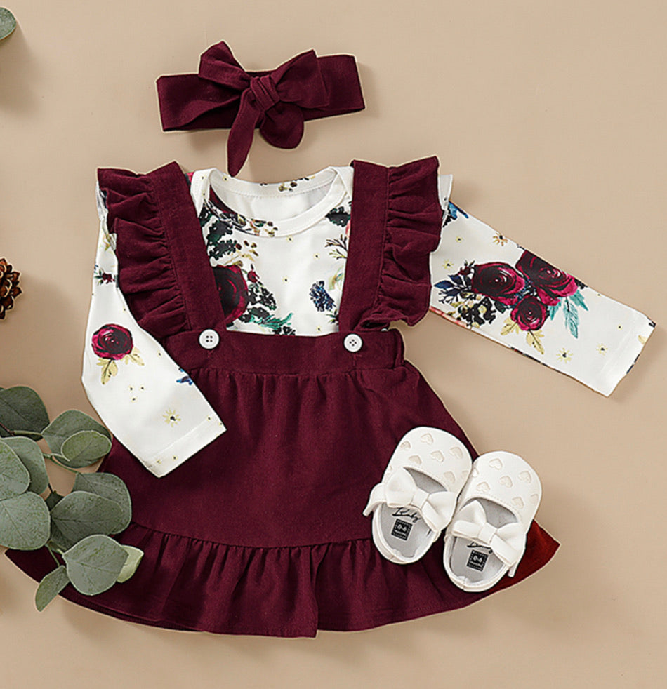 Fall Maroon Jumper 3 piece outfit