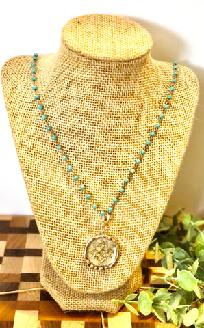 Cross Coin Turquoise Necklace