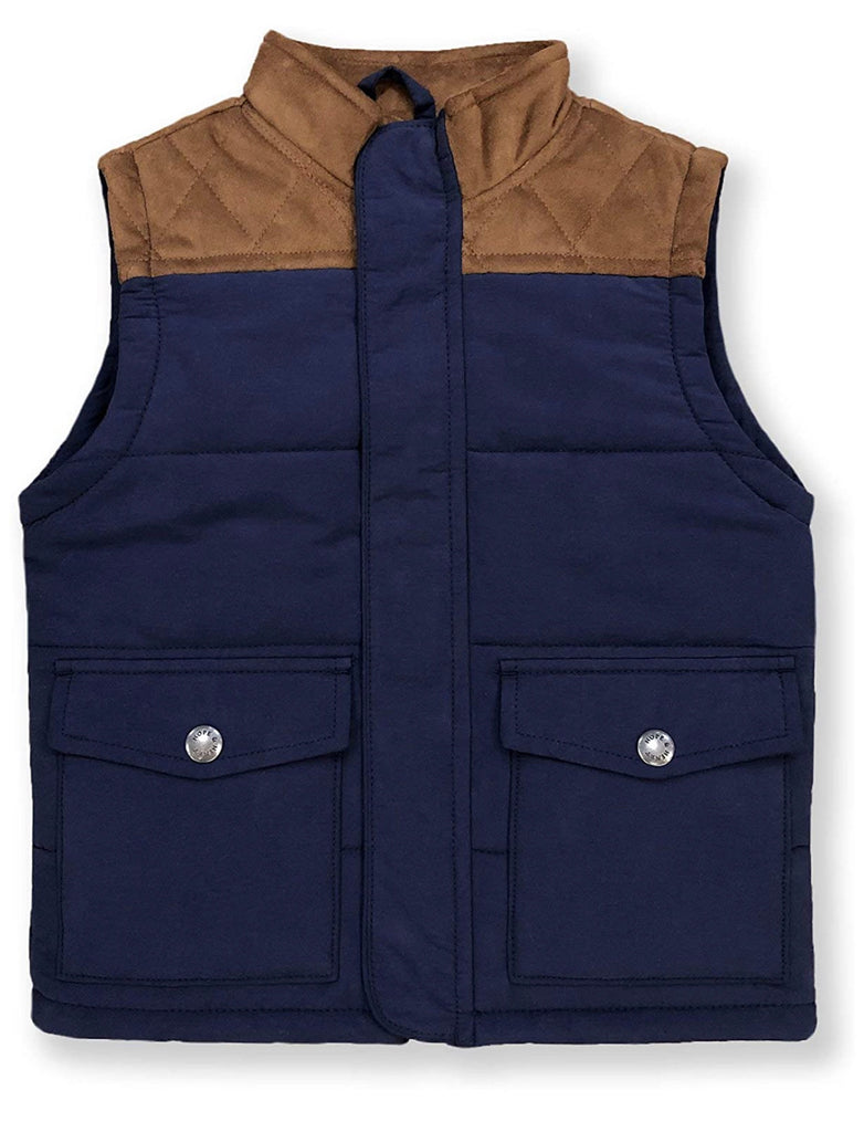 Suede Yoke Quilted Vest in Navy