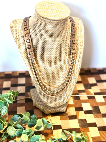 3 strand and Brown Leather Necklace