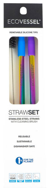 2 PK Rainbow Stainless Steel Straws
