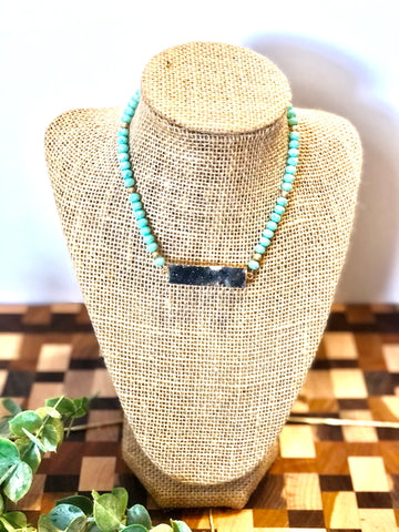 Teal and Dark Druzy Necklace