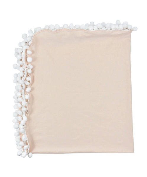 Apricot White PomPom Swaddle