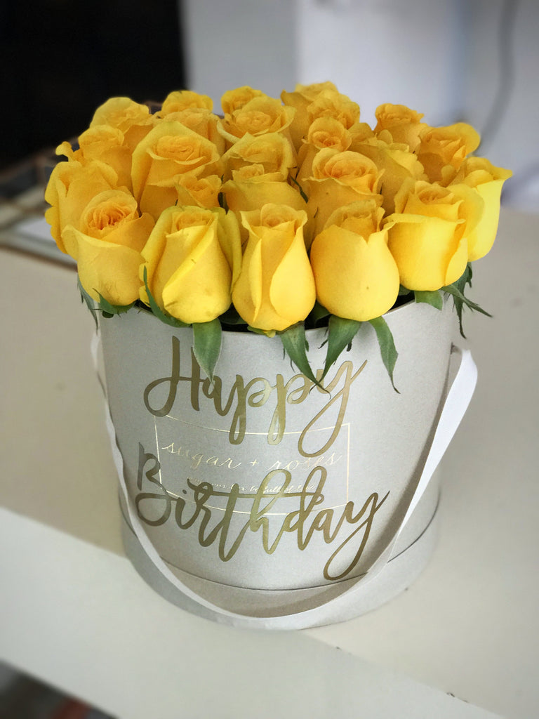 Yellow Roses On Camel Deluxe Box Happy Birthday Sugar And Roses