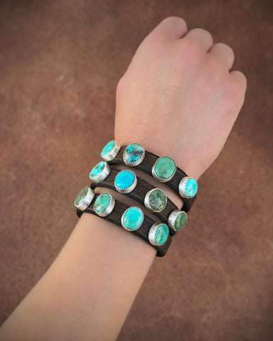 4 Stone Royston Turquoise Leather Bracelet (made-to-order)