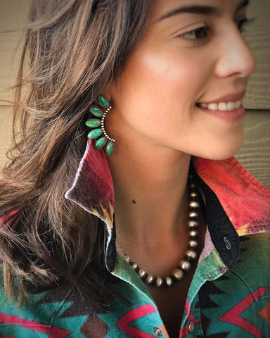 Sterling Silver and Kingman Turquoise Fan Earrings (made-to-order)