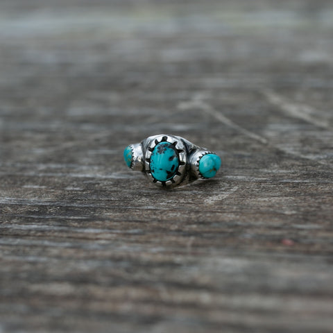 Carico Lake and Royston Turquoise Ring - SZ 9