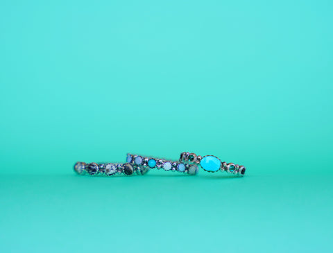 Sleeping Beauty Turquoise and Emerald Swarovski Crystals Ring (size 7)