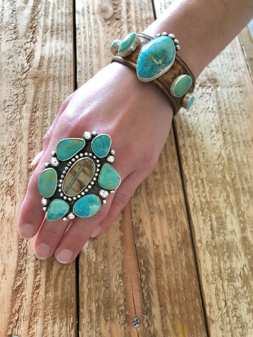 Adjustable Royston Turquoise Cluster Ring