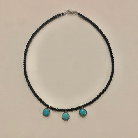 Black Beaded Turquoise Charm Necklace 16""
