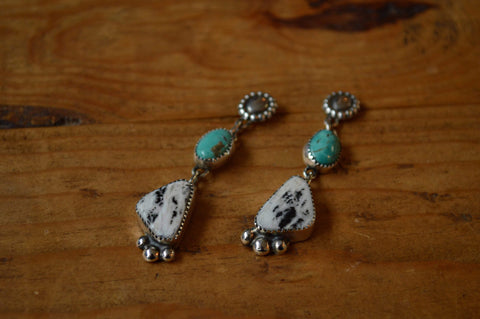 White Buffalo and Tyrone Turquoise Concho Earrings