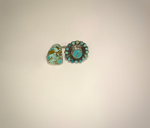 Adjustable Royston Turquoise Concho Ring