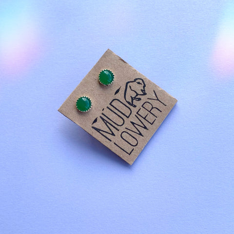 Vintage Green Glass Studs